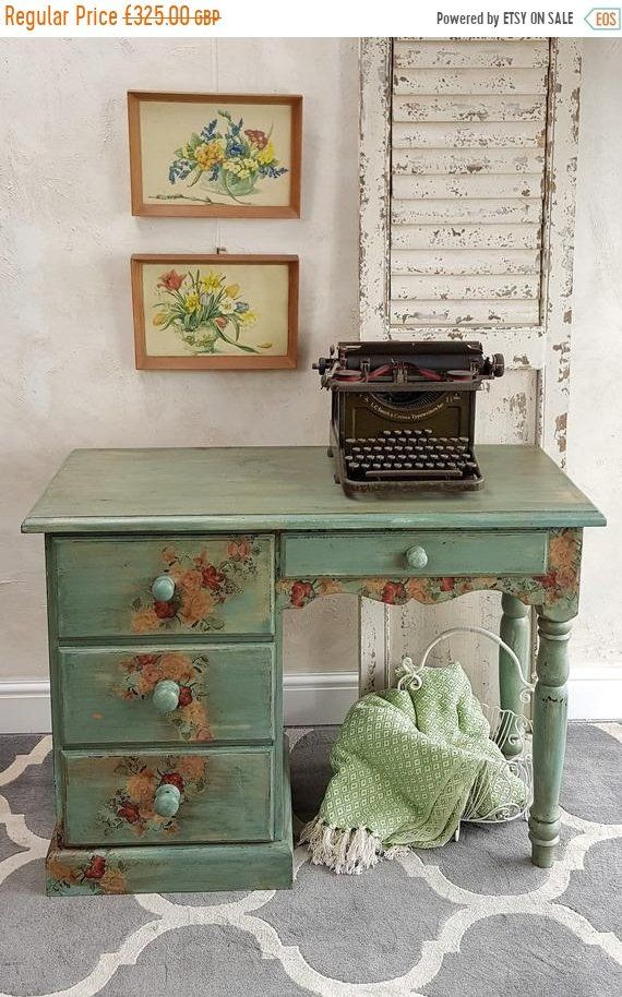 Blue Green Desk Dressing Table Hand Painted Furniture
