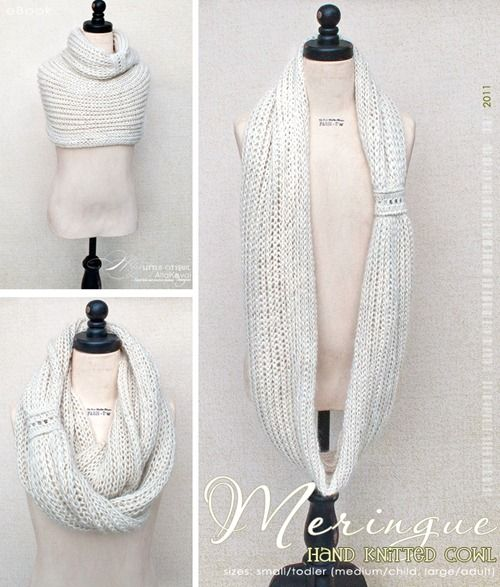 Meringue Hand Knitted Cowl. Free Pattern for Kids and Adult