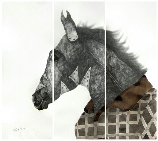 'H' for Horse, pencil & water colour on archival paper, 30 X 33inc., work in 3 units (each unit 11 X 30 inc.), 2011