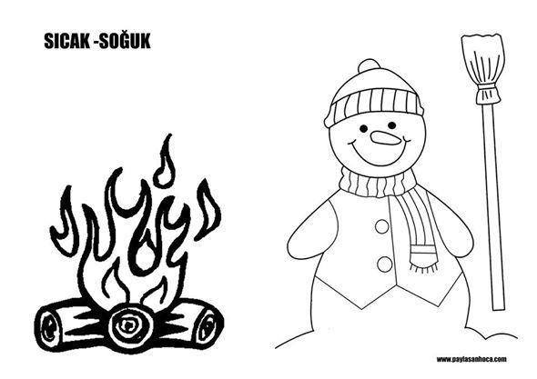 Sıcak Soğuk Kavramları İçin Boyama Sayfaları