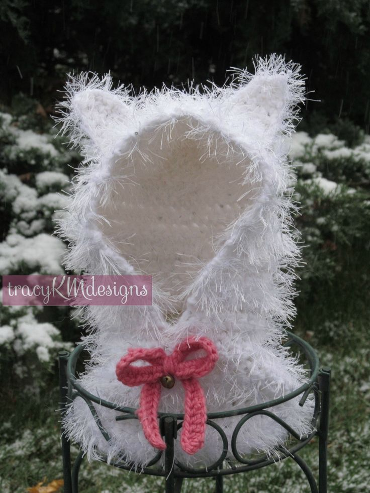 Fuzzy white kitty hooded cowl, with pink bow and working bell!