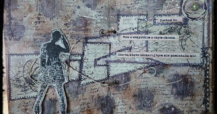 """Kolejna odsłona stempli Dina Wakley     Silhouetted Women     i odkrycie Piotra Zioła - """"Safari""""     kawałek tekstu na jurnalu     ........"""