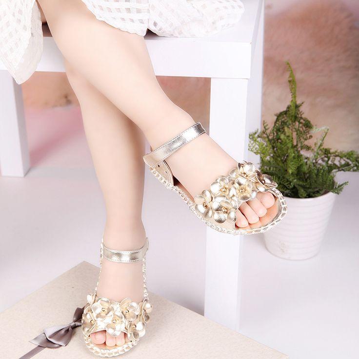 J.g чен горячая распродажа девушки летняя обувь пу цветы с заклепками мягкие дети сандалии пляжные детская обувь девочка цветочные прохладно обувь