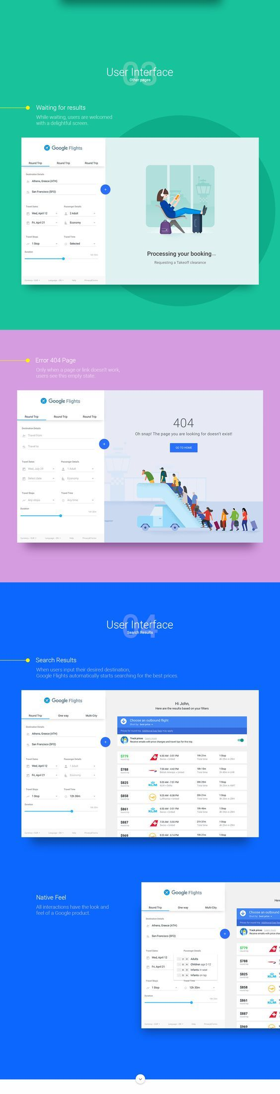 Google Flights is an online flight booking service which facilitates the purchase of airline tickets through third party suppliers.I wanted to re-imagine this product with the look and feel of the existing Google UI patterns and aesthetics. Credits: A…: