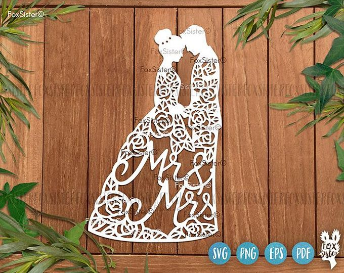 Wedding present,Wedding gift,Anniversary gift|Commercial Licence|Instant download Mr and Mrs 3D Mini Hearts papercutting template Incl SVG