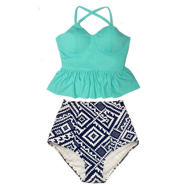 Mint Long Peplum Top and Graphic High Waist Waisted Highwaisted... ($40) ❤ liked on Polyvore featuring swimwear, bikinis, silver, women's clothing, retro bathing suits, swimsuits bikinis, retro high waisted bikini, retro bikini and high waisted retro bathing suits