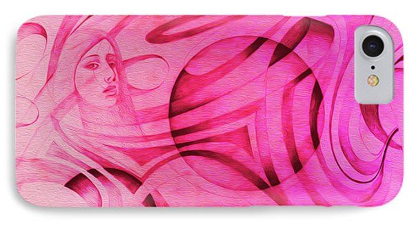 Woman In Pink - Psychedelic Lady Phone Case by Simon Knott
