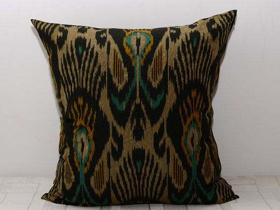20x20 black golden green ikat pillow ikat cushion ikat by SilkWay, $24.69