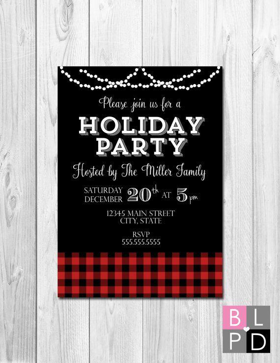 Holiday Party Invitation - Buffalo Plaid and String Lights