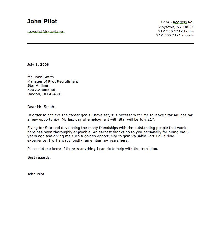 sample of airline pilot resignation letter    resumesdesign com  sample