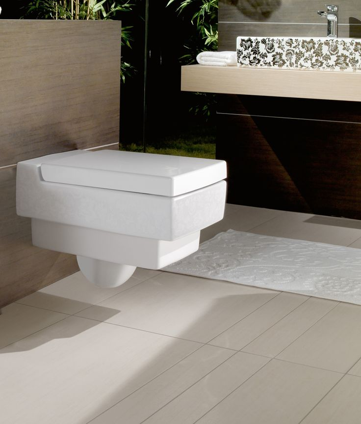 Bathroom Design, Modern Powder Bathroom Ideas Villeroy Boch Modern Toilet  Seat Mix White Geometric Accent Of The Floor Tiles And Stylish Vanity Design:  Chic ...