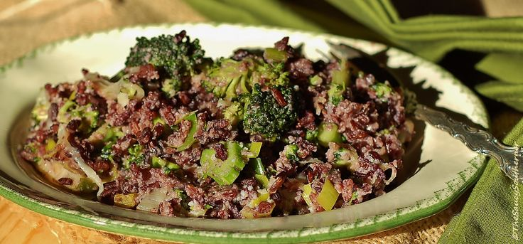Broccoli and Black Rice Casserole recipe, five ingredient friday, ricotta, Parmesan, leeks
