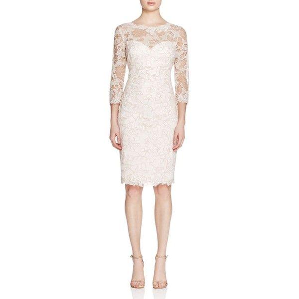 Tadashi Shoji Lace Overlay Dress ($455) ❤ liked on Polyvore featuring dresses, lace overlay dress, tadashi shoji cocktail dresses, tadashi shoji dresses, lace overlay cocktail dress and pink cocktail dress