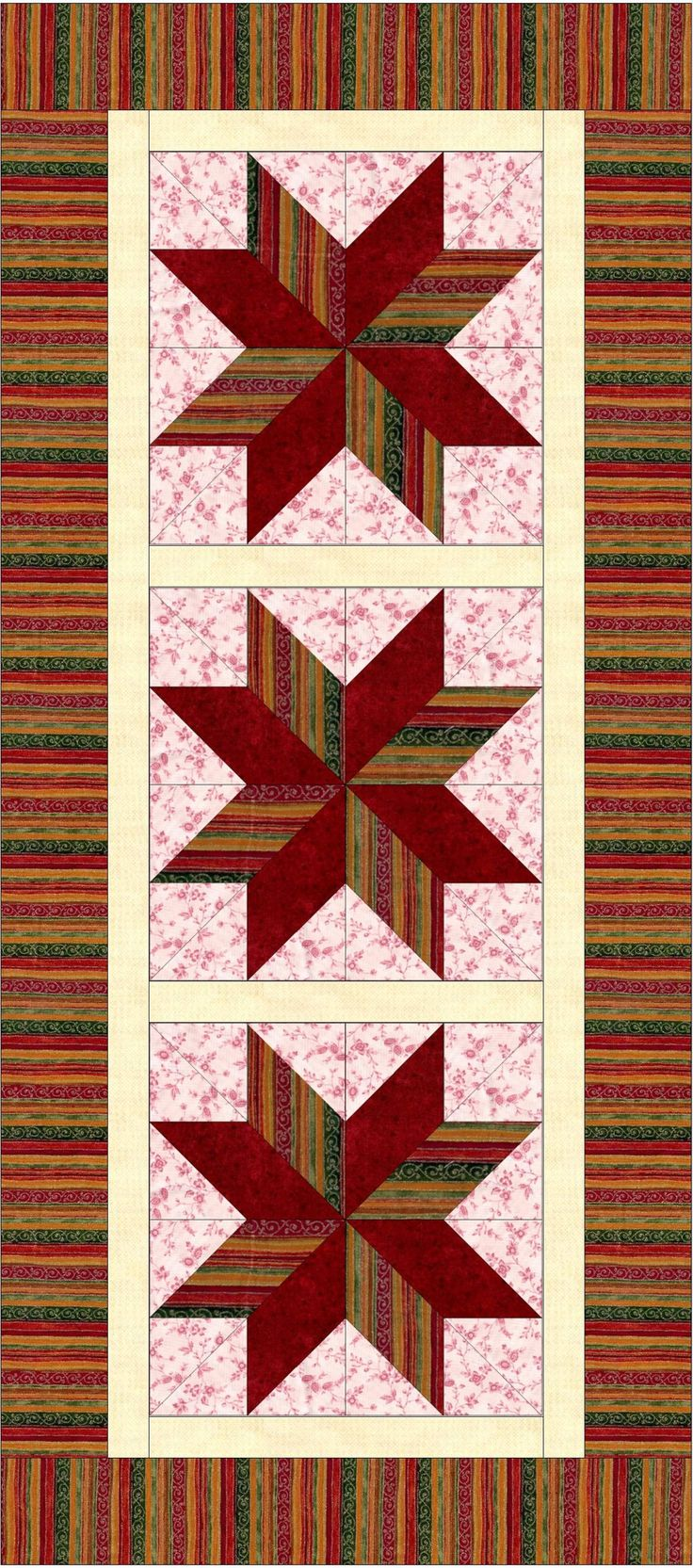 Quilting Project Ideas : Fabulous table runner for the holidays or wintertime with these beautiful fabrics in harvest ...