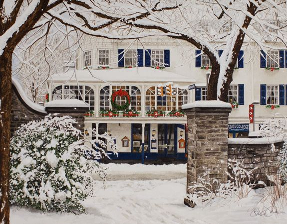 """""""Christmas on the Corner"""" by Barbara J. Ford - State College, PA and Penn State University - University Park, PA"""