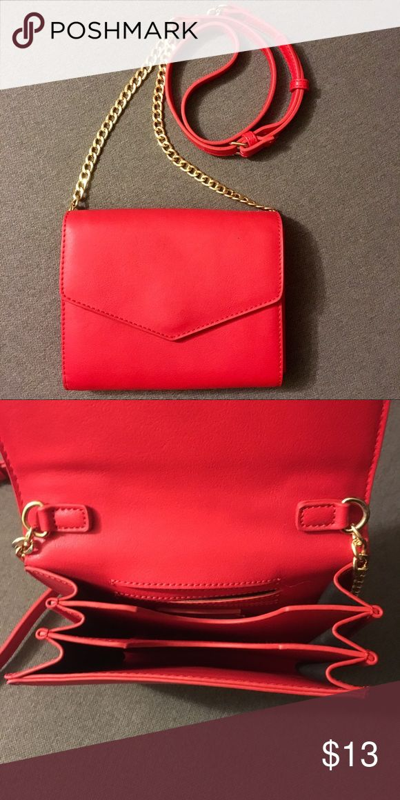 "Red Crossbody Bag Excellent/like new condition! Used only once!  Vegan leather. Adjustable strap. Magnet closure. Gold hardware. 3 compartments. ID slot. 7.1""x5.5""x2.8"" Forever 21 Bags Crossbody Bags"