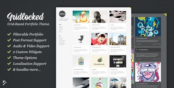 Gridlocked is a grid-based, post-format supporting, layout-shuffling, minimalistic theme for creatives. It is both a classic portfolio for showcasing your work and a modern tumblr-style blogging system.
