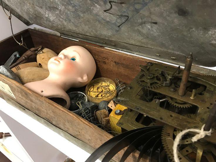 Vint Age Perth Gone Fishing $168 Antique box, fish hooks, sinkers, antique clock mechanism, W revenue duty stamps, antique wooden flaots, anitque porcelain head