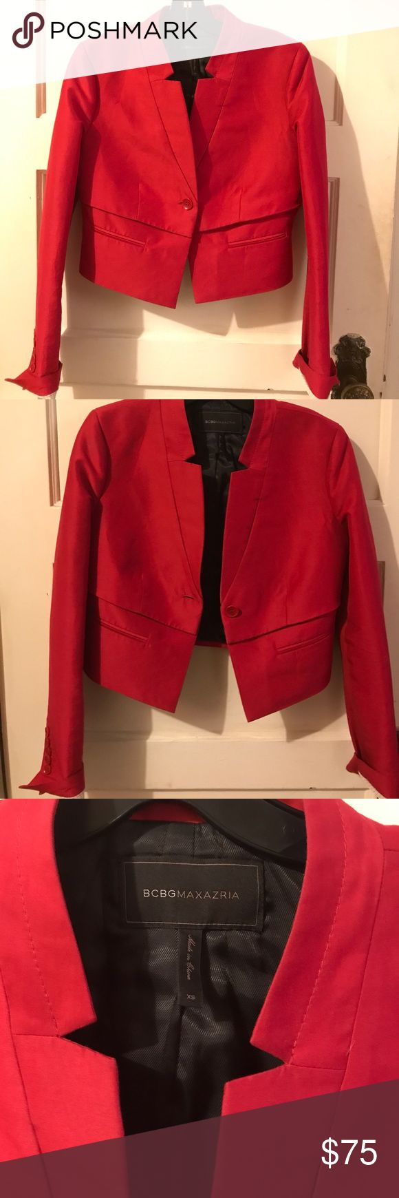 Tailored Red BCBG Max Azria Cropped Blazer Gorgeous blazer. Cropped and structured. Offers welcome, pictures of this on available upon request. BCBGMaxAzria Jackets & Coats Blazers