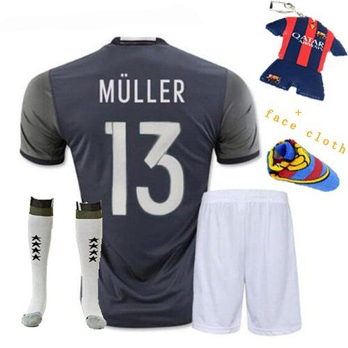 Soccer Kids 2016 European Championship Germany Away Muller 13 Football Soccer kids youth jersey  shorts  Socks  Free Key Chain  Face cloth 312 YRS 78 years ** You can find more details by visiting the image link.Note:It is affiliate link to Amazon.
