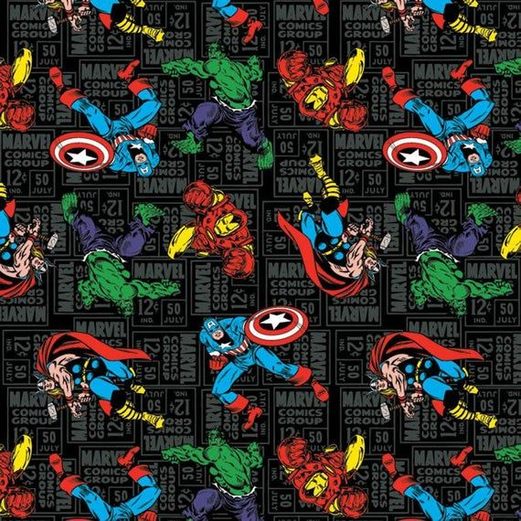 Marvel Comics Black Widow in Light Grey Camelot 100/% cotton Fabric by the yard