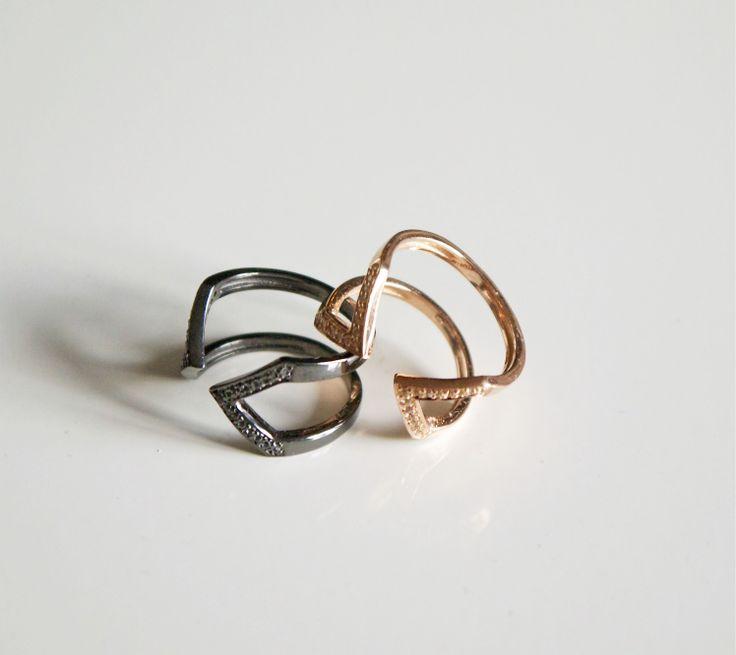 rosa guld og oxideret ringe/ rose gold and oxidised rings