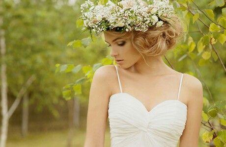 {Pretty, Fresh Floral Hair Wreath Of: Yellow/White Chamomile Daisies, Baby's Breath, & Green Foliage}