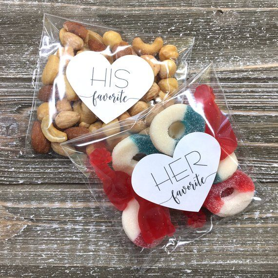 His and Her Favorite Wedding Favor Bags – 15 his and 15 hers heart stickers, add on clear favor bags
