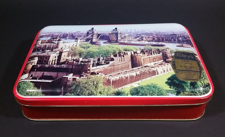 Very Rare Antique 1930s Riley's Assorted Toffee Tin with Scenery of Tower Bridge in London England https://treasurevalleyantiques.com/products/very-rare-antique-1930s-rileys-assorted-toffee-tin-with-scenery-of-tower-bridge-in-london-england #VeryRare #Rare #VintageTins #AntiqueTins #Antiques #Tins #1930s #30s #RileysToffee #Nuttall #English #England #Assorted #Toffees #TowerBridge #Scenery #Ship