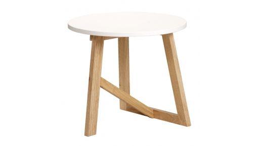 Bijzettafel Berlijn  Kleur: wit met naturel poten Materiaal: rubberwood en MDF Afmetingen (hxØ): 45xØ50 cm  Aantal pakketten: 1  Montagevoorschrift