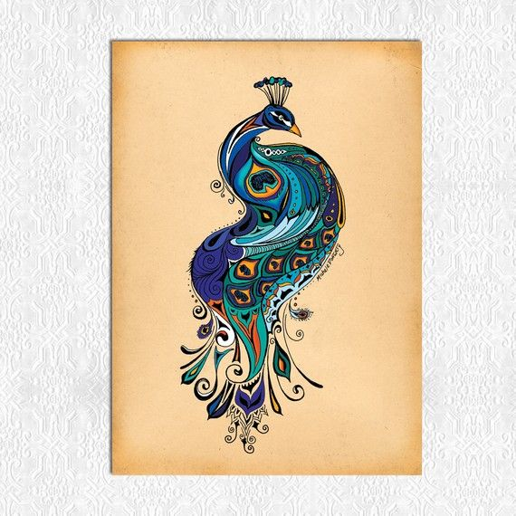This was actually a painting but I think it's really pretty for a tattoo! Although I think tattoos should have meaning and I have no idea what a peacock would mean to you... still pretty. :)