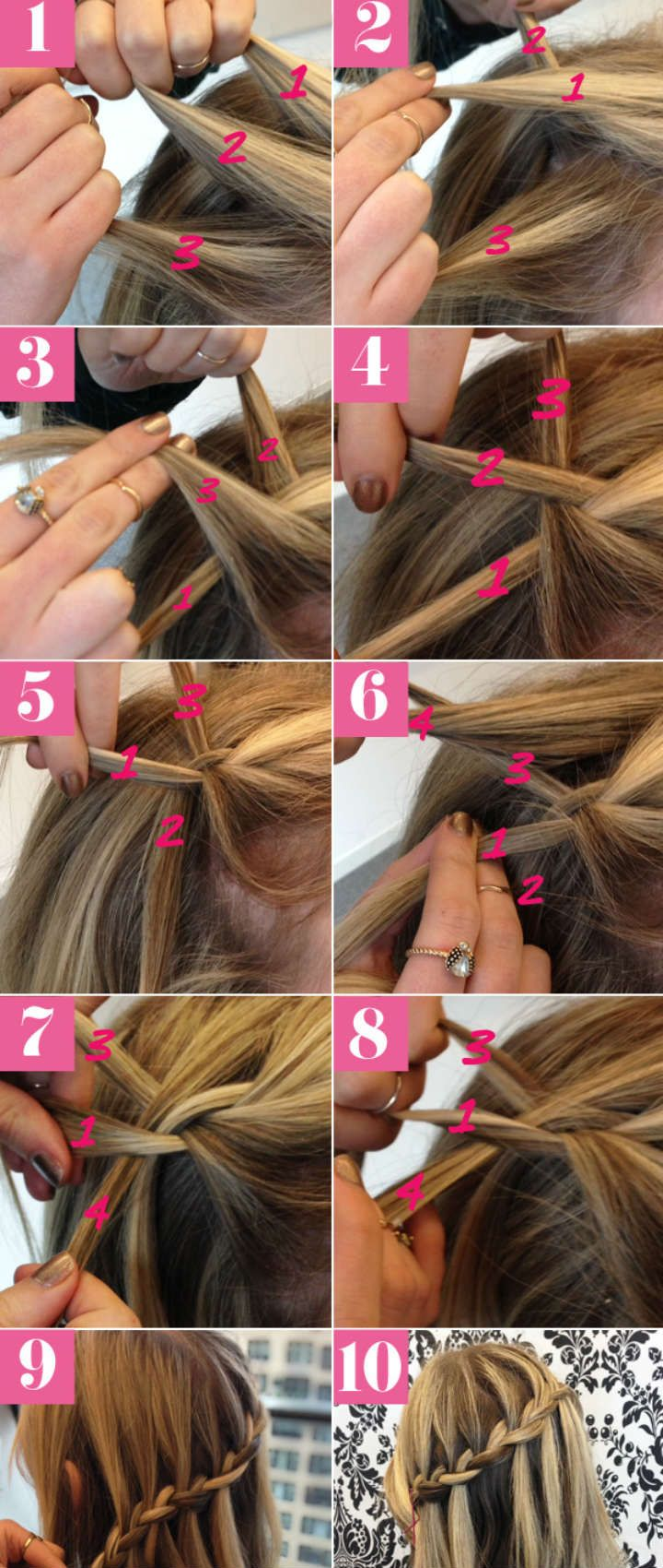 10 Steps to a Pretty Waterfall Braid, I've been wanting to do this forever!