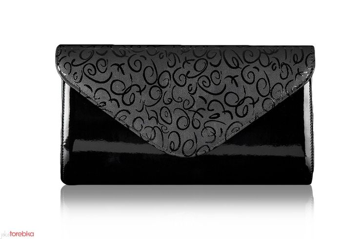 Matowa kopertówka Felice Clutch F03 Czarna z wzorem