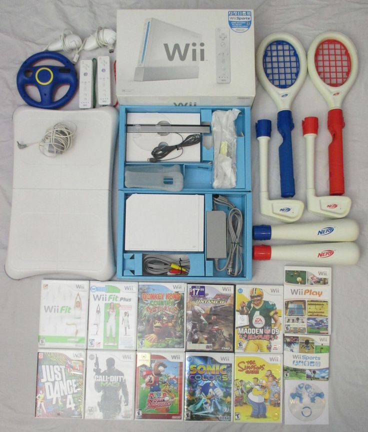 NINTENDO Wii Bundle Lot - Console, 13 Games, Nerf Controllers, Fit Pad & More #Nintendo