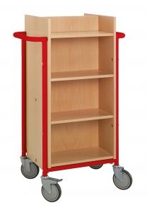 Book Trolley - Gotland - Red Double-sided book trolley with 8 shelves. Slimline frame with high capacity