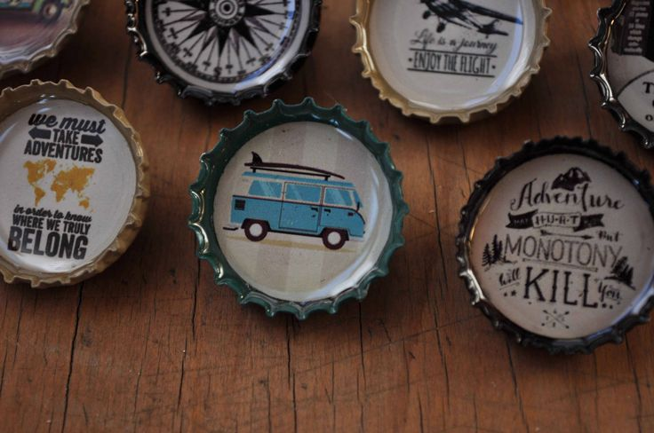 10 Hipster Recycled Beercap brooch pins adventure travel for guys by MugaMugaSouthAfrica on Etsy
