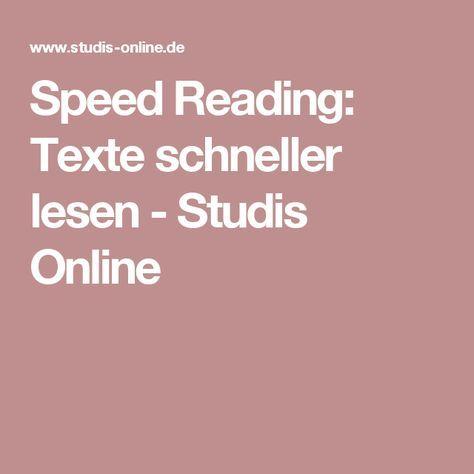 Speed Reading: Texte schneller lesen - Studis Online