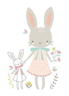 Ansichtkaart Konijntjes. Lief kaartje met twee konijntjes, in pastel met witte achtergrond. Ontwerp: Flora Waycott.  illustratie kinderkamer babykamer decoratie pastel