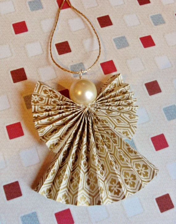 Origami Christmas Angel Decoration in Cream and Gold (Set of 5) Angels I want.