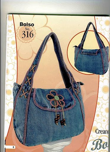 Denim handbag with top stitching --  Creando Ideas Bolsos....NOT in English...MANY purse ideas on this site for inspiration