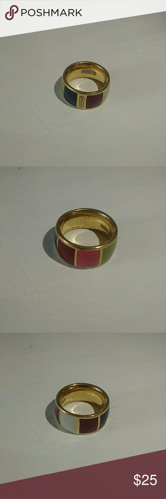 Coach Legacy Stripe Gold Enamel Ring Multi-color beautiful Coach ring. Great quality. Only worn a couple times. Coach Jewelry Rings