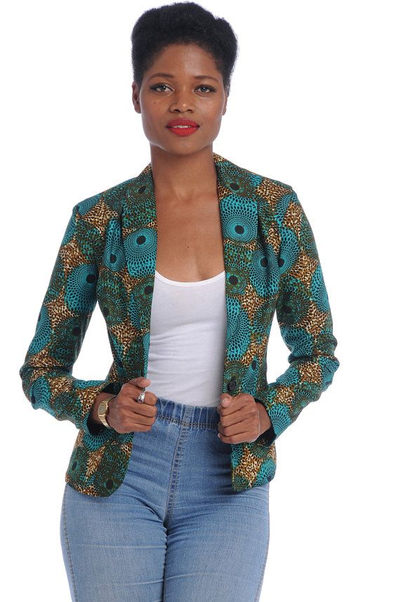 African Print Blazer by Bongolicious1 on Etsy #Africanfashion ♦ℬїт¢ℌαℓї¢їøυ﹩♦