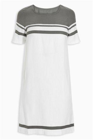 Серый Платье на основе льна в стиле колор блок