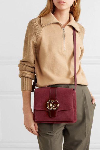 6ea26c2bfb3b Gucci | Arli leather-trimmed suede shoulder bag | NET-A-PORTER.COM ...