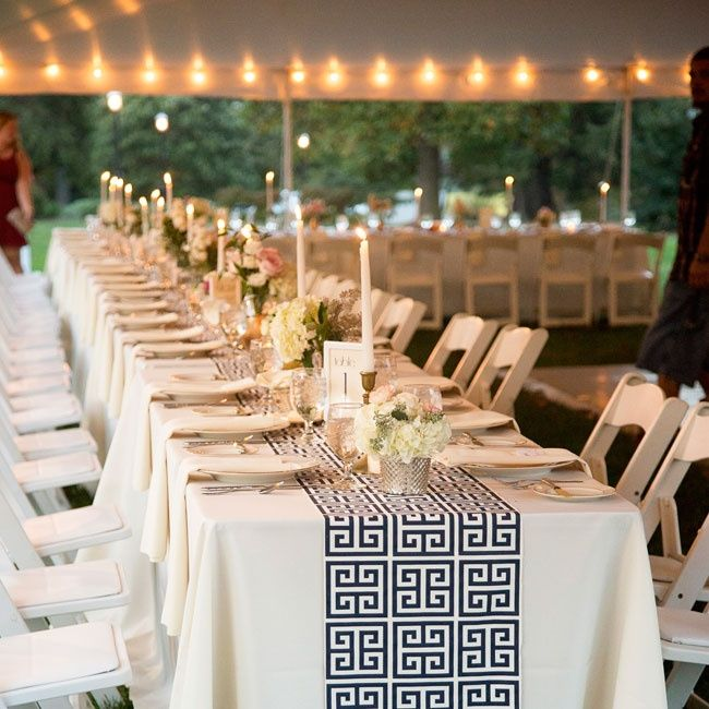 Long farm tables were set with ivory linens blue and white Greek key pattern table runners and gold accents for an Art Deco-inspired look. & 76 best Grecian Centerpiece images on Pinterest | Events Casamento ...