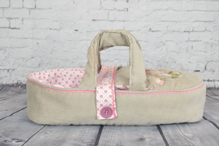 doll carrier doll bed for children - bassinet, READY TO SHIP - doll bed - for dolls puppets soft animals- beige pink - hand embroidered by BagitKid on Etsy