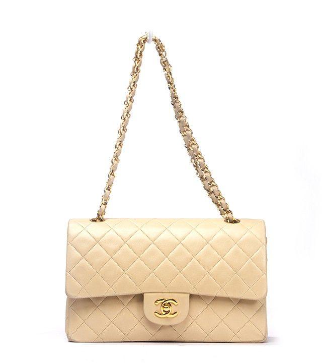 Chanel Beige Lambskin Double Flap Medium Bag