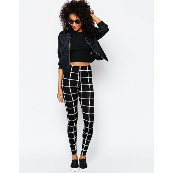 ASOS Leggings in Mono Grid Check ($33) ❤ liked on Polyvore featuring pants, leggings, mono, white high waisted leggings, white high waisted pants, high-waisted pants, elastic waist pants and checkered leggings