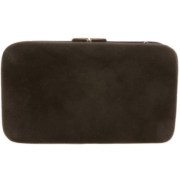 Pre-owned Judith Leiber Suede Clutch ($260) ❤ liked on Polyvore featuring bags, handbags, clutches, brown, suede leather handbags, judith leiber, suede handbags, brown suede handbag and pre owned handbags