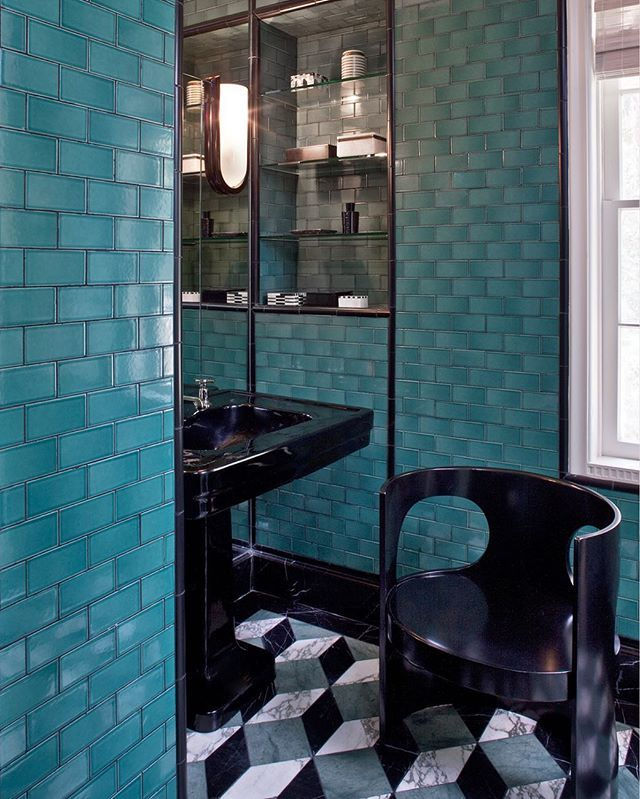 There's a vibrancy and sense of youth about this color—perfect to employ in small spaces. xk @kellywearstler #ADLovesColor #turquoise